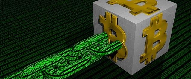 ブロックチェーンの中に取引データが記録されている