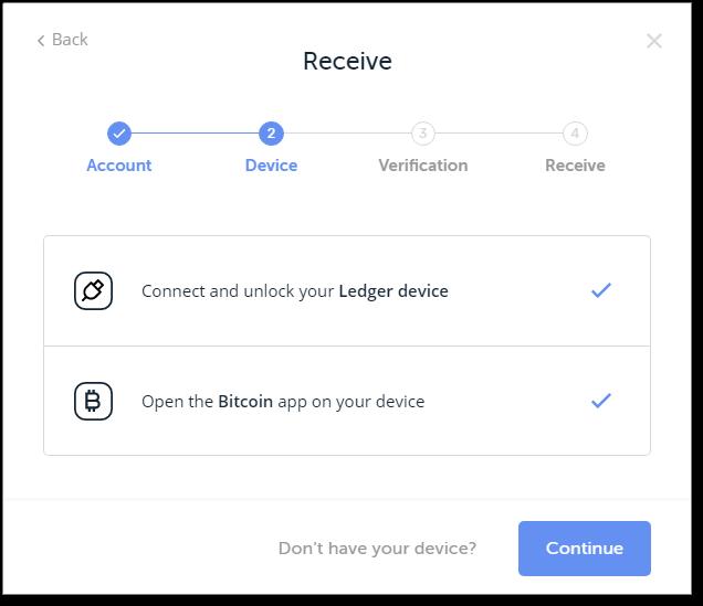 LedgerNanoSを接続し、ビットコインのアプリを選択すると次に進める