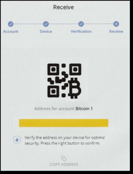 QRコード(この画像はダミーです)とビットコインアドレス(黄色で隠しています)が表示されます